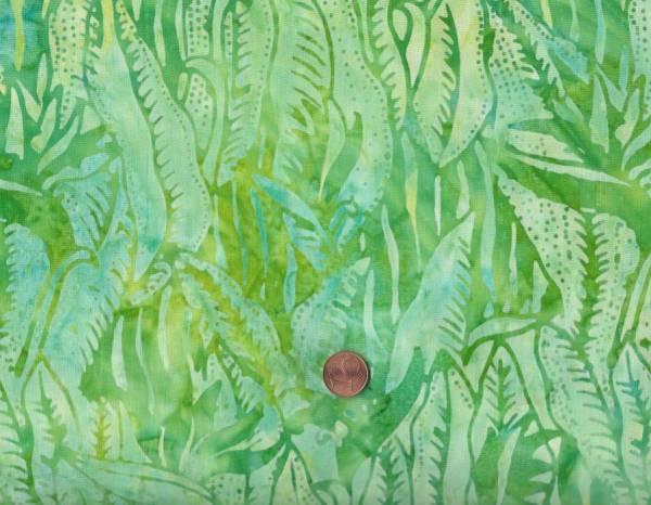 Batik Blätter limone-türkis