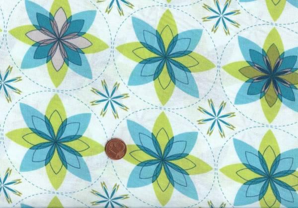 Sanctuary Blüten Kreise weiß-türkis