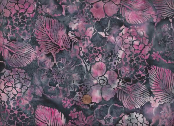 Batik schwarz-pink Blätter