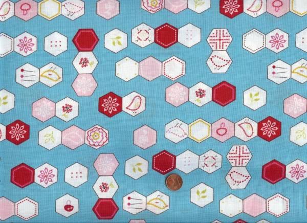 Aneela Hoey Sew Stitchy Hexagons türkis