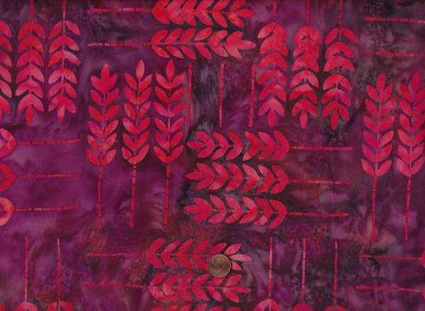 Batik Zweige raspberry