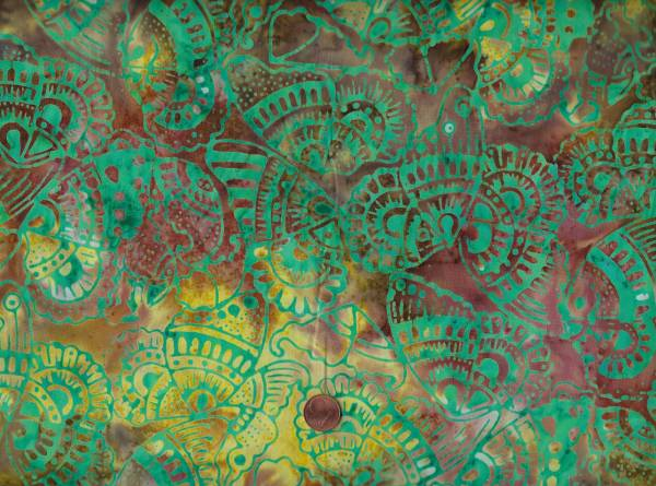 Batik Schmetterlinge braun-gelb-grün