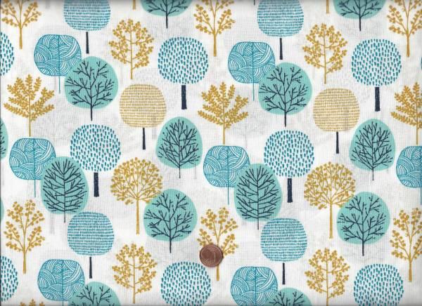 Bio-Baumwolle Forest turquoise kl. Bäume