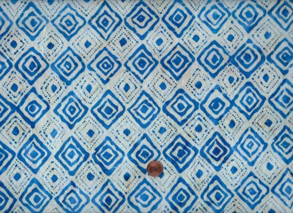 Batik Indigo Quadrate cream-blau