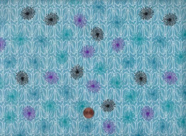 Roadside Flowers blau Blumen allover