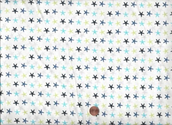Druck weiß-türkis-grün Sterne