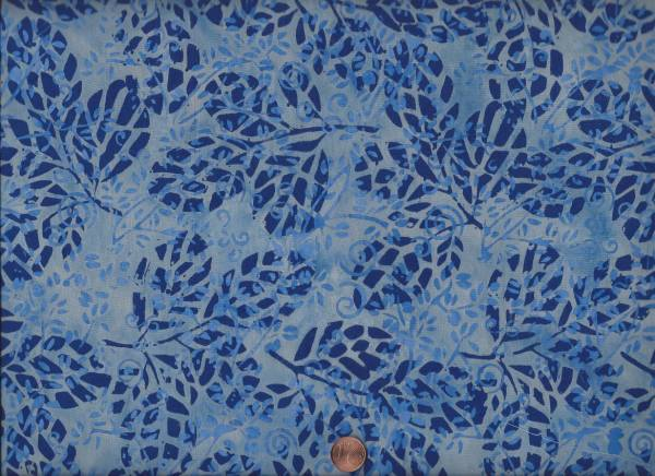 Batik Blätter h.blau-d.blau