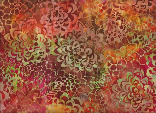 Batik Blüten orange-rot-grün