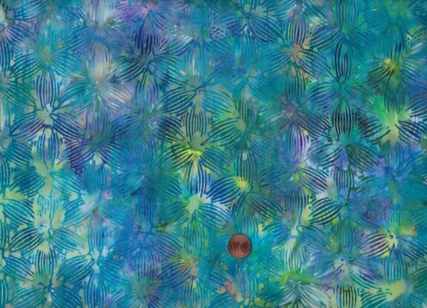 Batik Blüten türkis-lila-grün