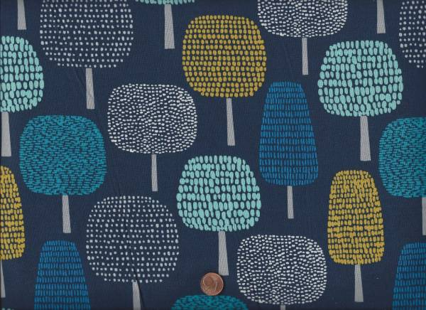 Bio-Baumwolle Glade navy gr. Bäume