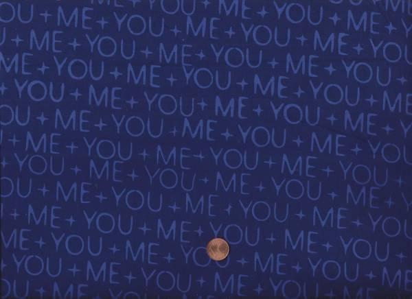 me & you Batik Schrift blau cobalt