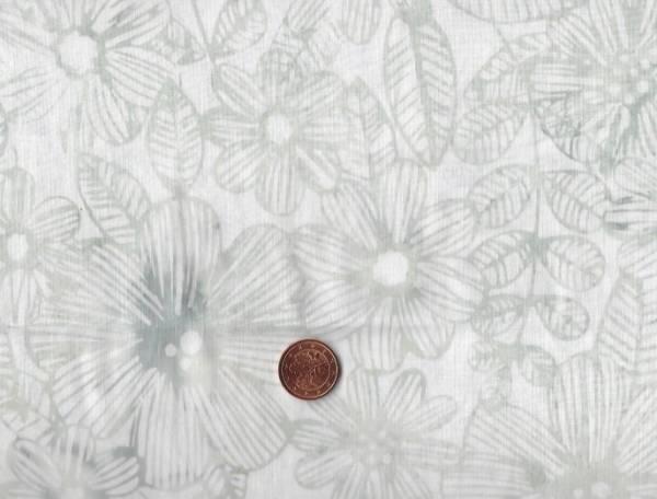 Bali Batik Blüten weiß-grau