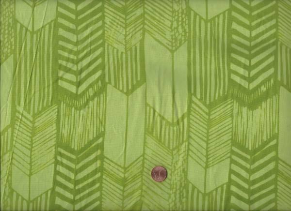 Hand Dyed Batik Chevron green