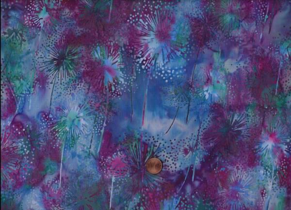 Batik Pusteblume blau-magenta-petrol