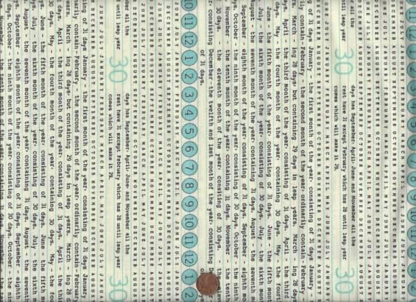 Elementary Schrift cream-schwarz-türkis
