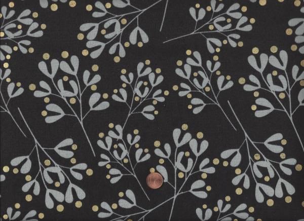 White Christmas Mistletoe, black gold