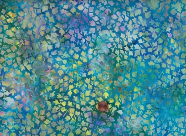 Batik Blättchen türkis-grün-gelb