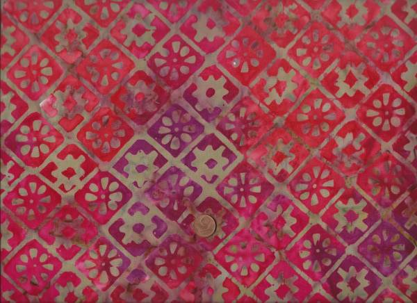Batik Sumatra rot Karos/Blüten