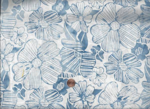 Bali Batik Blumen weiß-blau