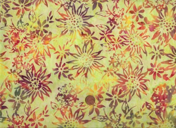 Batik grün-bunt Blumen