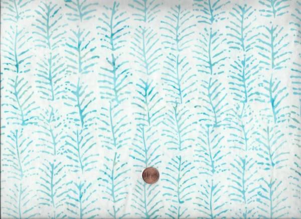 Batik Zweige weiß-türkis