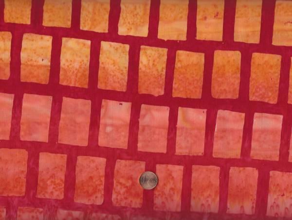 Batik Farbverlauf Quadrate gelb-rot