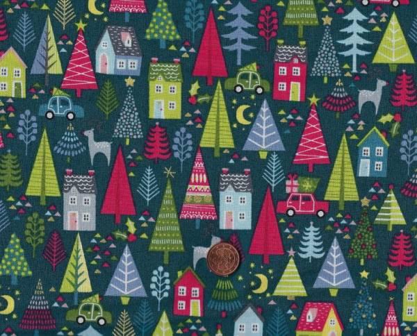 Joy Christmas Trees blue