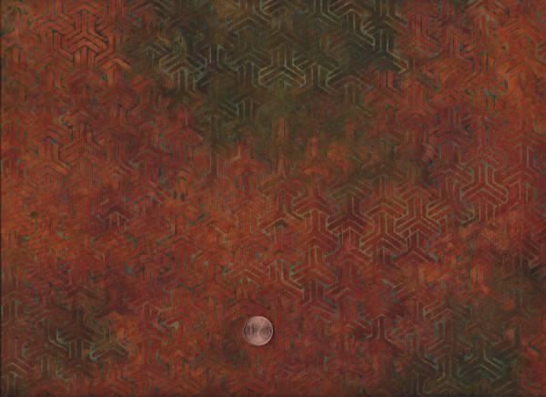 Batik Tesselation terracotta-grün