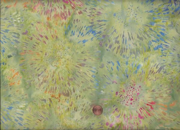 Batik Feuerwerk grün-bunt