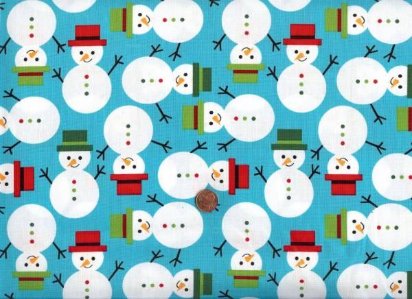 x-mas Jingle Schneemänner türkis-bunt
