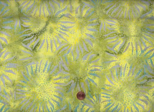 Batik Sunflower grün-rauchblau