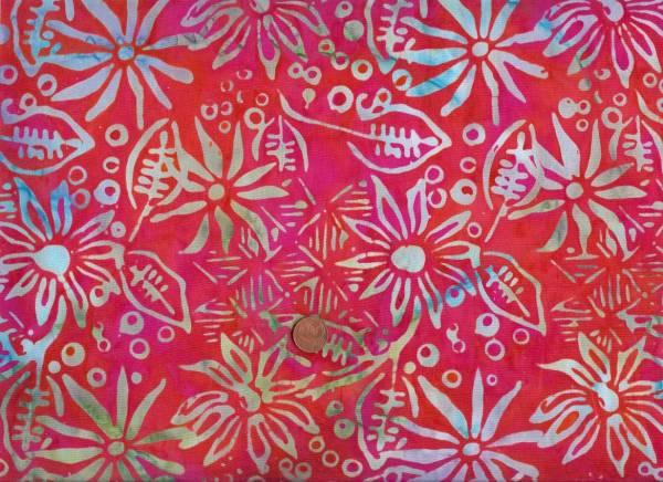Batik rot-bunt Blumen