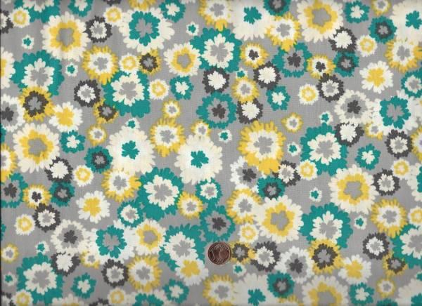 Bryant Park Blüten grau-gelb-petrol