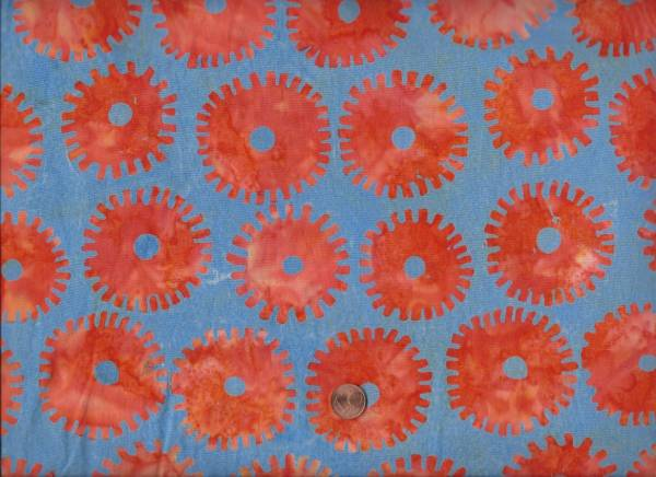 Kaffe Fassett Batik Artisan Saw Circles orange