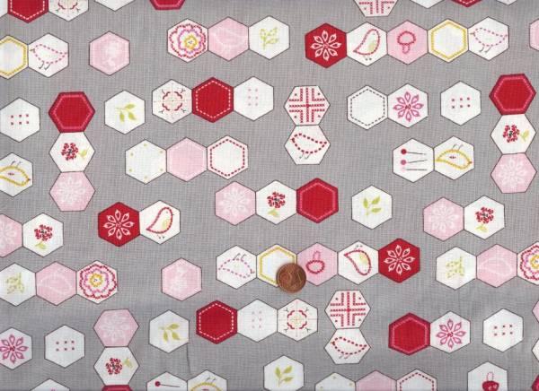 Aneela Hoey Sew Stitchy Hexagons grau