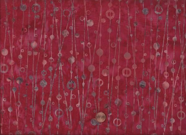 Batik Kreise/Striche rot-grau