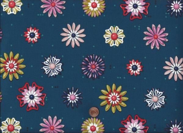 Picnic Enamel Flowers teal