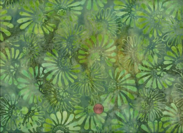 Batik Blüten grün