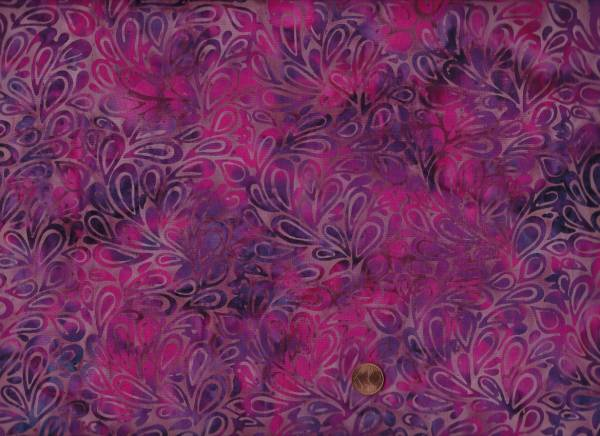 Batik Blätter lila-pink 80cm