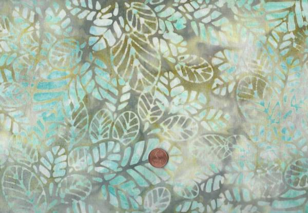 Batik Blätter türkis-olive