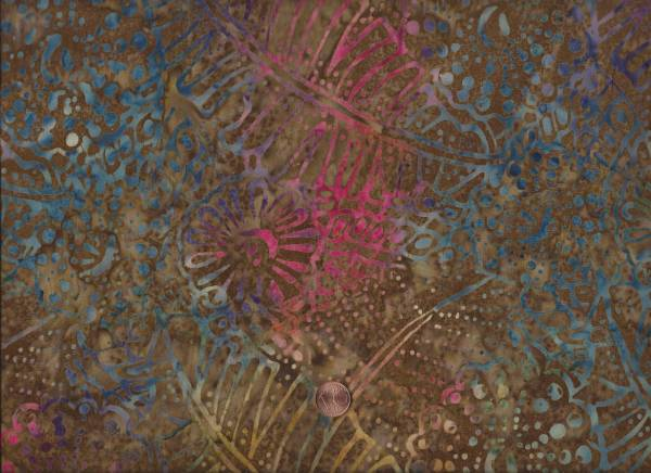Tonga Batik floral braun-bunt