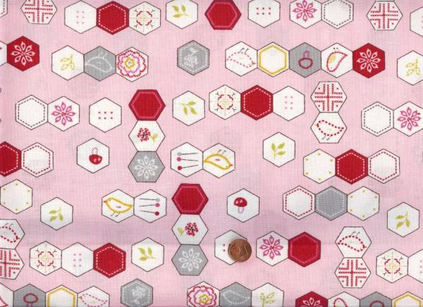 Aneela Hoey Sew Stitchy Hexagons pink