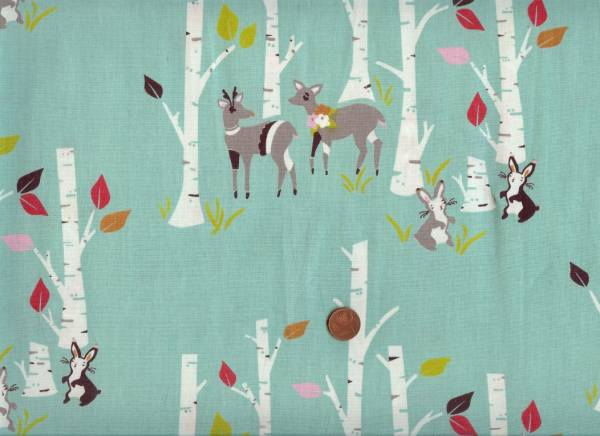 Yay Day Bio-Baumwolle Wald+Tiere blau-bunt