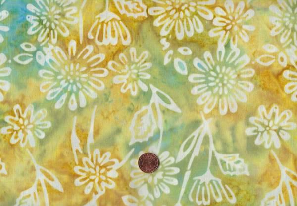Batik Floral ocker-grün-türkis