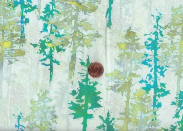 Batik Bäume cream-türkis-grün