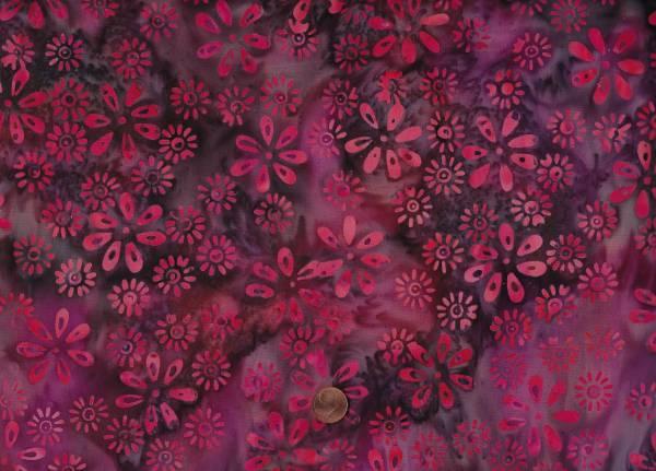 Batik Blüten raspberry