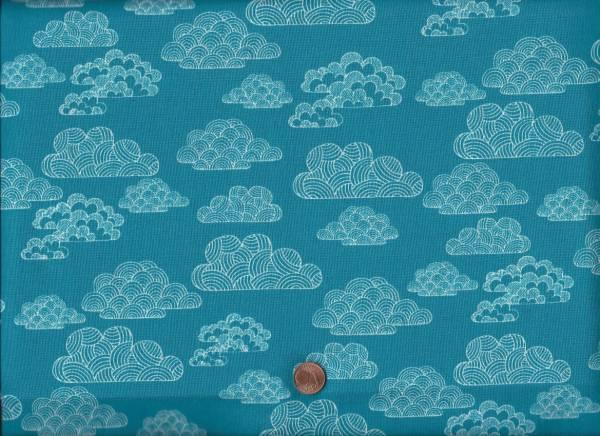 Bio-Baumwolle Nimbus teal Wolken