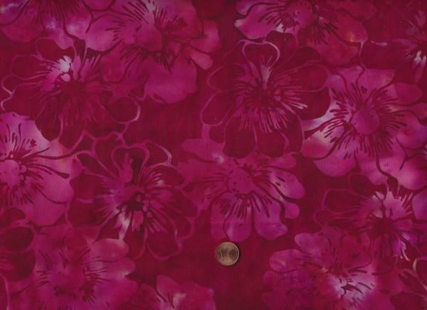Batik Blüten weinrot