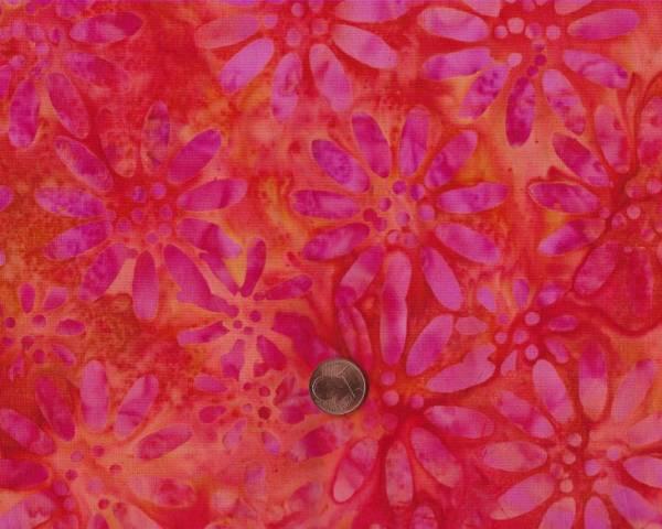 Batik Blüten orange-pink
