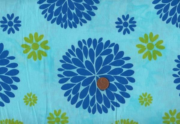 Batikdruck Flower türkis-blau
